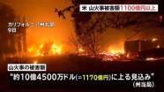 米・加州の山火事被害額、試算で1100億円以上