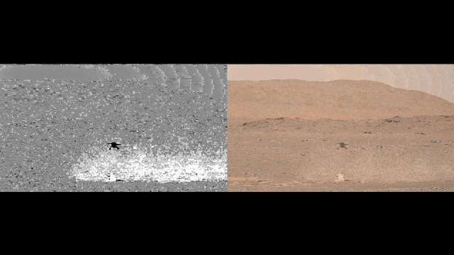 火星ヘリコプターが舞い上げた塵が画像処理で浮かび上がった