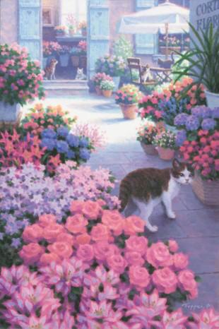 テーマは「猫と犬に癒やされる風景画」光の情景画家・笹倉鉄平氏の作品展が大丸東京店で開催